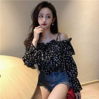 PO 1186 Mini Heart Shape Pattern Off Shoulder Ruffle Frill Long Sleeve Chiffon Shirt Blouse Ulzzang Summer