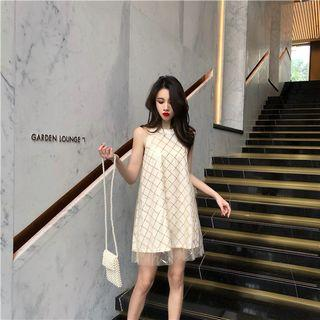 PO 1189 Gold Line Golden Shiny Pattern Sleeveless 2 Layered Mesh Dress Ulzzang Summer