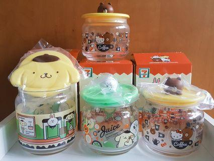 LINE friends glass containers