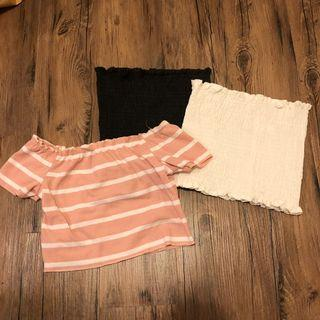 🚚 Cropped Tops (Black/White/Pink)