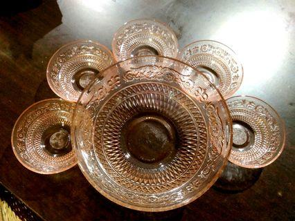 Peach Trellis Glass Dessert Bowls set of 6