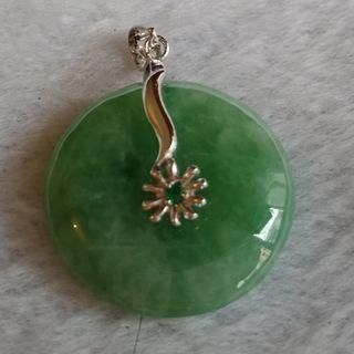 Jade Carving: Jade Donut c/w Silver Clasp