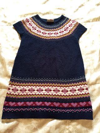 🚚 冬季 毛料 深藍色短袖洋裝 110
