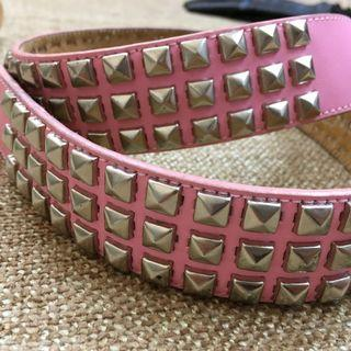 Genuine Leather Pink Studded Belt - Medium Size -
