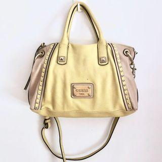 GUESS PASTEL YELLOW AND PINK SATCHEL BAG