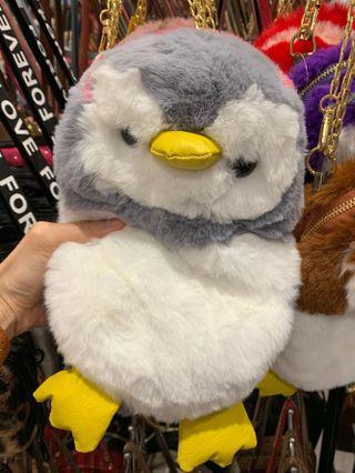 Furry Penguin Sling Bag