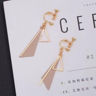 Pink and Gold Geometric Triangle Clip On Earrings (PO)