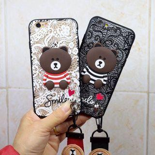 🚚 iPhone6plus蕾絲熊大手機殼(附手繩)