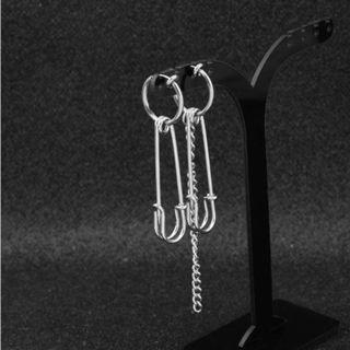 1 PAIR Asymmetrical Safety Pin and Chain Drop Earrings / Clip Ons (PO)