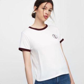 INSTOCK Pull and bear sweet disaster logo ringer tee