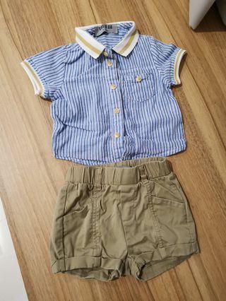 🚚 Baby boy blue shirt and khaki shorts