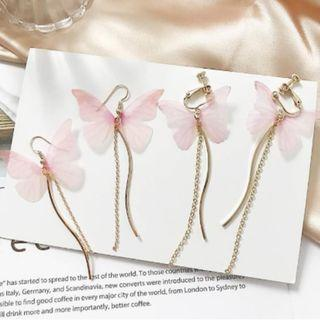1 PAIR Pink Butterfly Long Dangle Earrings / Clip Ons (PO)