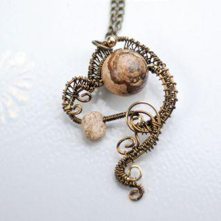 Picture Jasper Pendant Wire Wrap Love Tornado Necklace Handmade Unique Jewelry