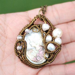 Carved Shell Cameo Culture Pearl Pendant Wire Wrap Necklace Handmade Art Jewelry