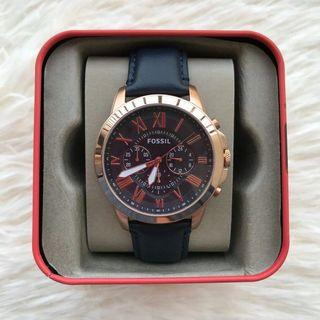 💯 ORIGINAL FOSSIL GRANT CHRONOGRAPH NAVY LEATHER