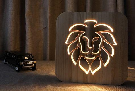 New Style Wood USB LED 3D TableLamp Creative Hollow Carving Lion Head Gift