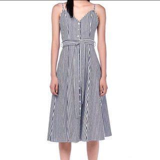 Blue Striped Button Down Maxi Dress