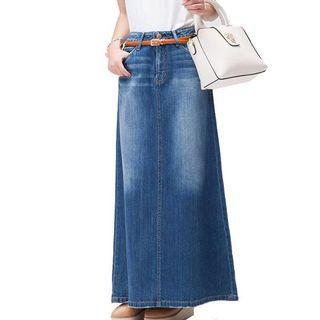 🚚 Vintage Denim Side Slit Maxi Skirt