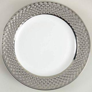 222 Fifth (PTS) embossed Beaded Silver / platinum salad plate