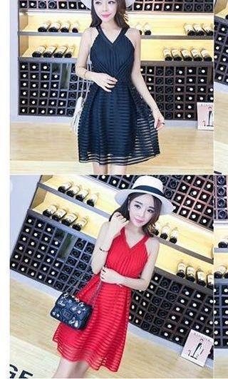 Red V dress