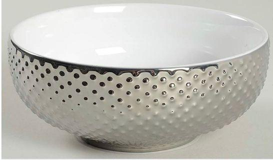 222 Fifth (PTS) Beaded Silver Cereal Bowl - Embossed Beaded Platinum Rim