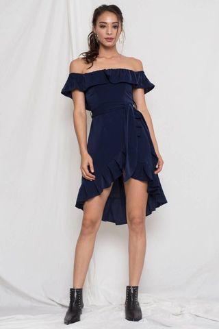 YHF Mania Ruffles Dress Navy