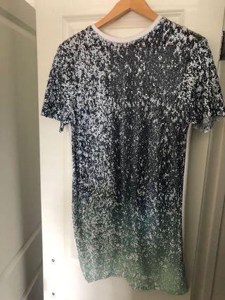 Turquoise Sequin T-Shirt Dress