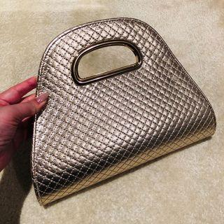 Forever New gold clutch bag