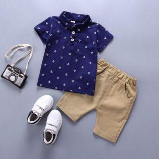 🚚 [2-3T] Boys navy anchor set [polo shirt and pants]