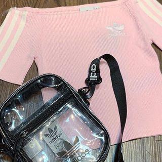 Adidas 一字肩pink top