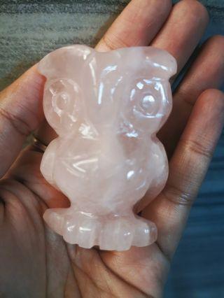 🚚 Owl rose quartz crystal stone