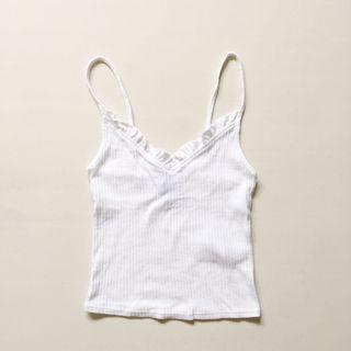 Topshop white v neck ruffled ribbed camisole
