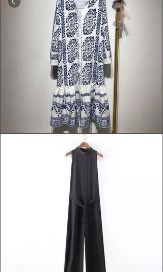 🚚 青花瓷印花荷葉邊長洋裝+黑色連身褲合售