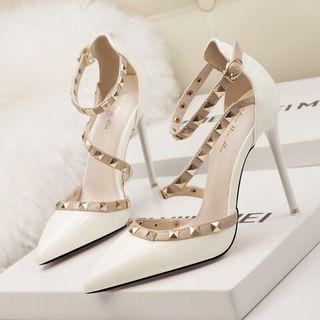 時尚柳釘高跟鞋 一字帶涼鞋 性感尖頭高跟鞋 正韓細跟高跟淺口尖頭鉚釘鏤空一字帶女單鞋