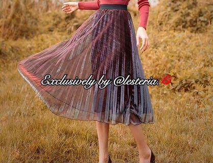 Luna Metallic Pleated Midi Skirt (Red x Silver)