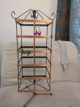 Beautiful bronze 288 holes! Rotating Earring Rack, free new earrings with purchase