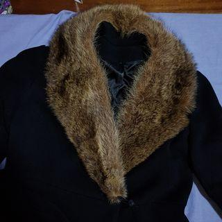 Black trench coat with fur collar