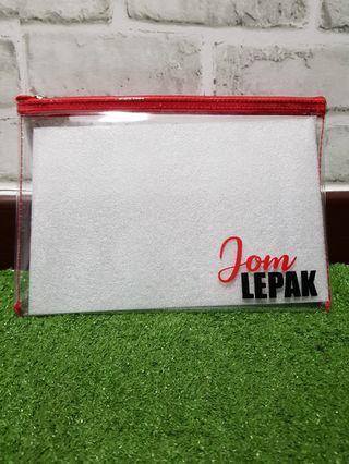 Personalized clear zipper bag/denim pouch