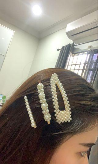korean style white pearl hair clip