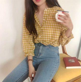 Yellow checkered long sleeve