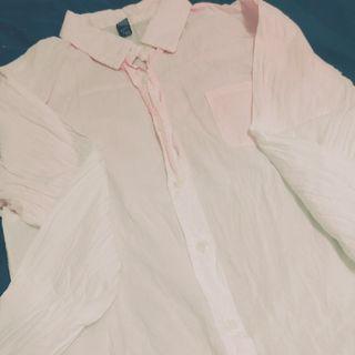 窄版 超美 漸層 襯衫 粉色系 夢幻 軟妹 上衣 長袖襯衫