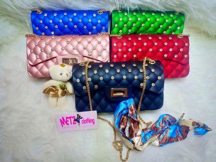 #ramadansale Sling Bag FREE BONEKA DAN SYAL Tas jelly matte MAXI DIAMOND UK 22CM fashion