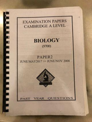 CIE AS Biology Paper 2 Past Year Papers