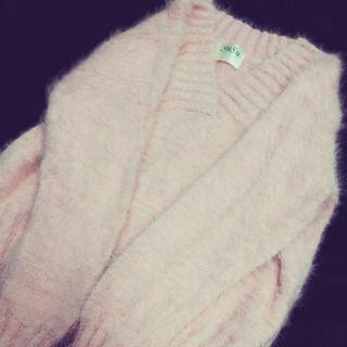 粉嫩 軟綿綿 毛衣 短版 粉紅色 少女 軟妹 日系 上衣 長袖