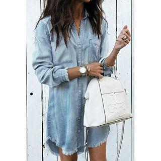 Women Casual Denim Shirt Dress Ladies Long Sleeve Turn Down Collar Office Lady Loose Shirt Dress New Style Party Dress