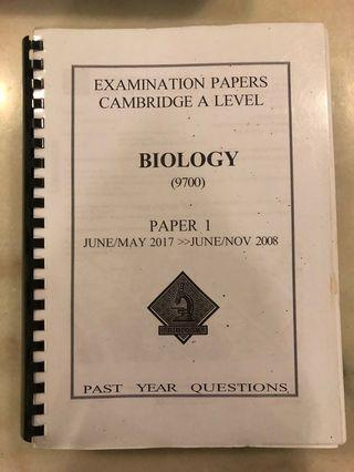 CIE AS Biology Paper 1 Past Year Papers