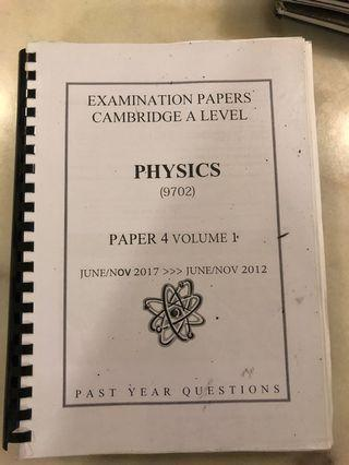 CIE A2 Physics Paper 4 Past Year Papers