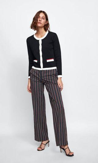 Zara Knit Cardigan with Pearl Buttons 黑色 冷衫 珍珠