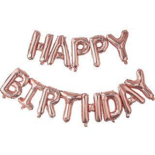 Rose Gold Happy Birthday Balloon Set