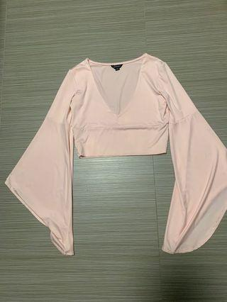 HDY bell sleeves cropped top in blush pink